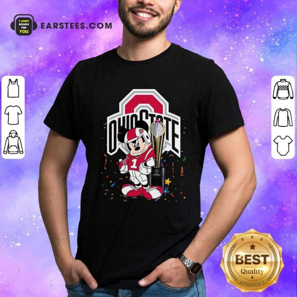 Mickey Mouse And Cup Ohio State Buckeyes Shirt- Design By Earstees.com