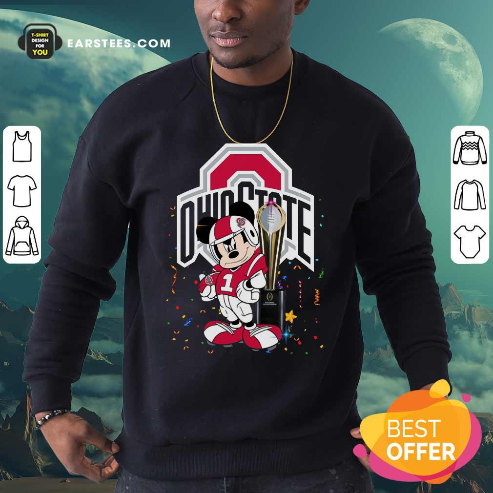 Mickey Mouse And Cup Ohio State Buckeyes Sweatshirt- Design By Earstees.com