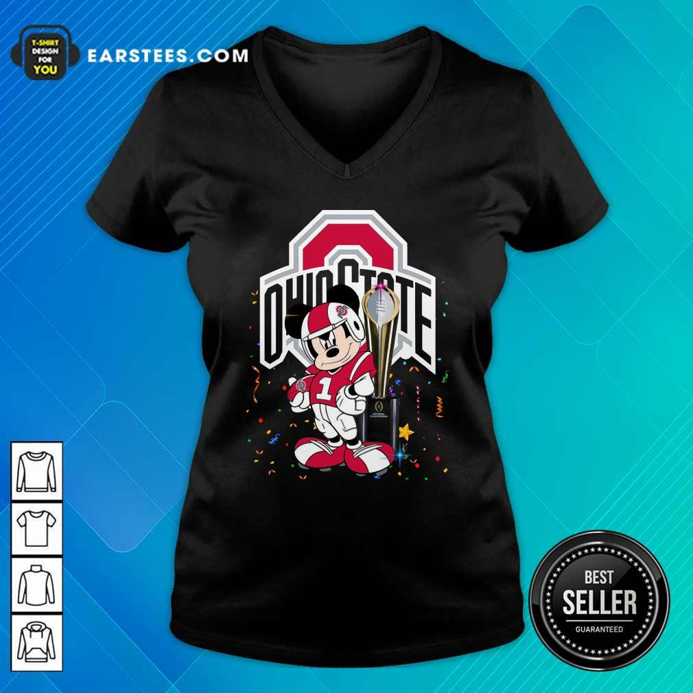 Mickey Mouse And Cup Ohio State Buckeyes V-neck- Design By Earstees.com