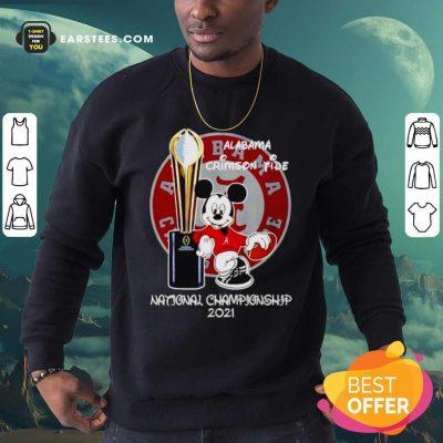 Alabama Crimson Tide Mickey Mouse NCAA National Championship 2021 Sweatshirt- Design By Earstees.com