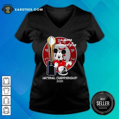 Alabama Crimson Tide Mickey Mouse NCAA National Championship 2021 V-neck- Design By Earstees.com