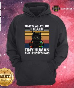 Black Cat Thats What I Do I Teach Tiny Human And I Know Things Vintage Hoodie- Design By Earstees.com