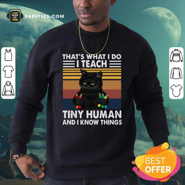 Black Cat Thats What I Do I Teach Tiny Human And I Know Things Vintage Sweatshirt- Design By Earstees.com