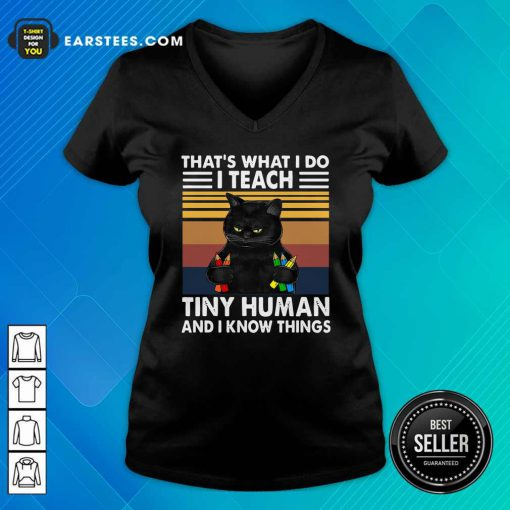 Black Cat Thats What I Do I Teach Tiny Human And I Know Things Vintage V-neck- Design By Earstees.com