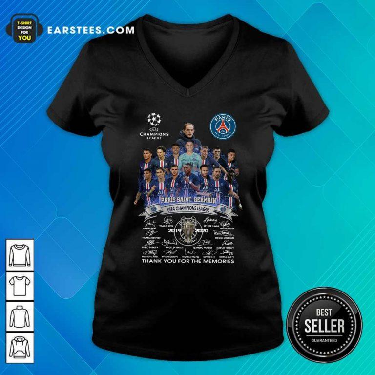 Paris Saint Germain UEFA Champions League 2019 2020 Thank You For The Memories Signatures V-neck- Design By Earstees.com