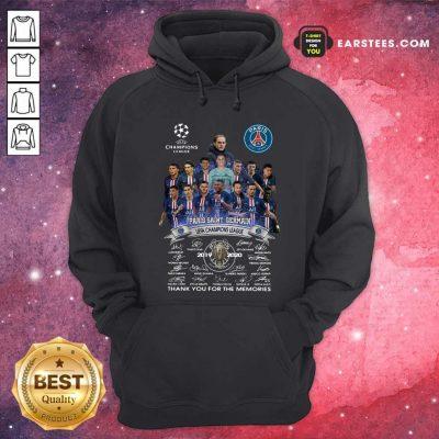Paris Saint Germain UEFA Champions League 2019 2020 Thank You For The Memories Signatures Hoodie- Design By Earstees.com