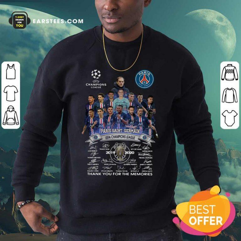 Paris Saint Germain UEFA Champions League 2019 2020 Thank You For The Memories Signatures Sweatshirt- Design By Earstees.com