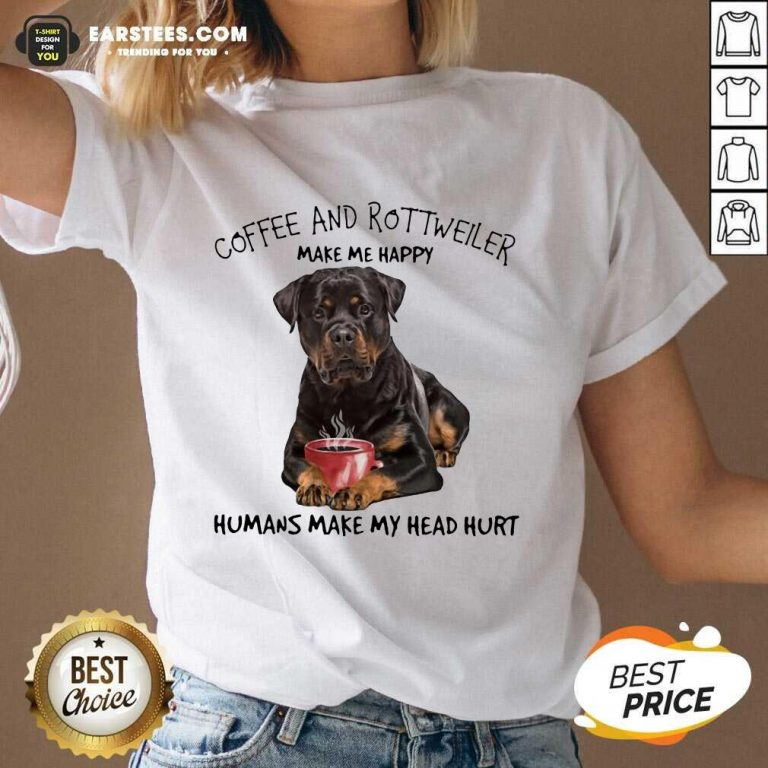 Fantastic Coffee And Rottweiler Head V-neck
