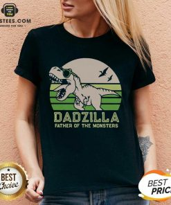 Funny Dinosaurs Dadzilla Father Great 8 V-neck