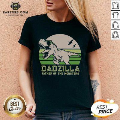 Funny Dinosaurs Dadzilla Father Great 8 V-neck