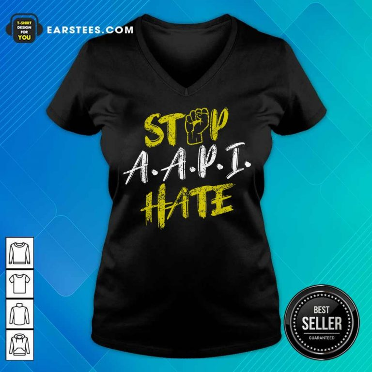 Funny Stop A.A.P.I Hate Hand Relaxed V-neck