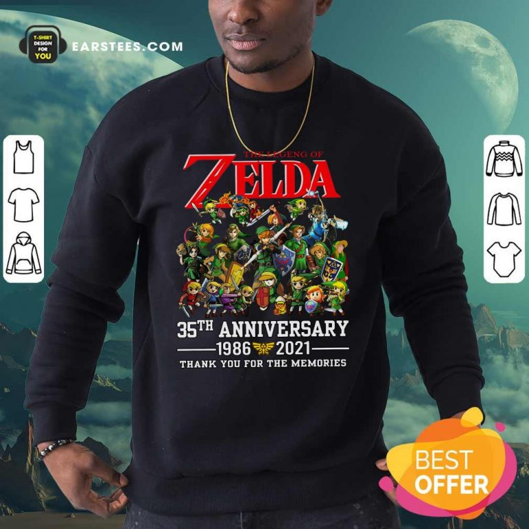 The Legend Of Zelda 35th Anniversary 1986 2021 Thank You For The Memories Sweatshirt- Design By Earstees.com