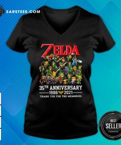 The Legend Of Zelda 35th Anniversary 1986 2021 Thank You For The Memories V-neck- Design By Earstees.com