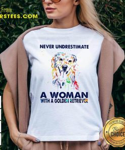 Never Underestimate A Woman With A Golden Retriever Ladies V-neck- Design By Earstees.com