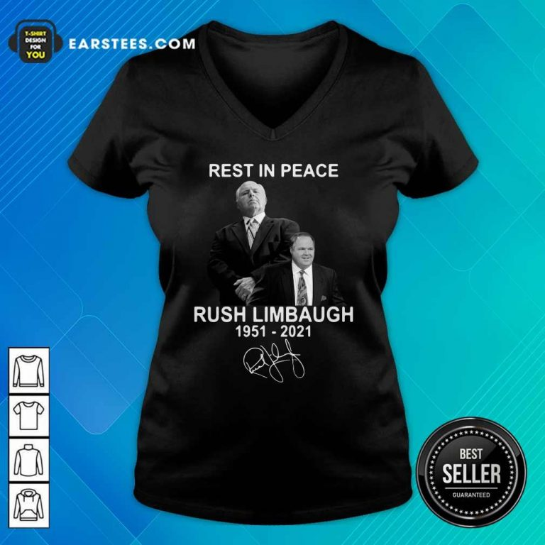 Rest In Peace Rush Limbaugh 1951 2021 Signature V-neck- Design By Earstees.com
