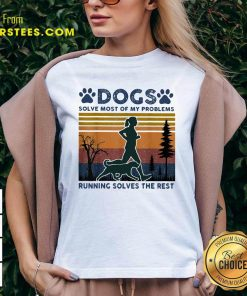 Dogs Solve Most Of My Problems Running Solves The Rest Ladies Vintage V-neck- Design By Earstees.com