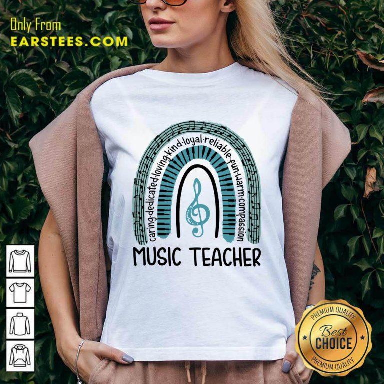 Happy Music Teacher Rainbow Caring V-neck