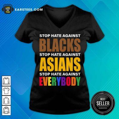 Happy Stop Hate Against Blacks Asian V-neck