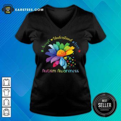 Hot Accept Understand Love Autism Awareness V-neck