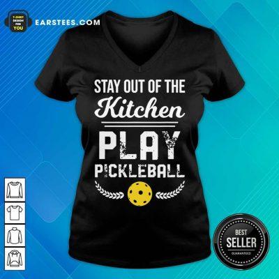 Nice Kitchen Play Pickleball Excited V-neck