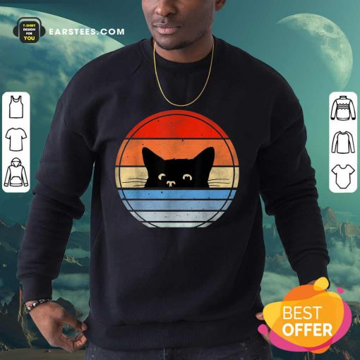 Nice Retro Black Cat Confident Great 45 Sweatshirt