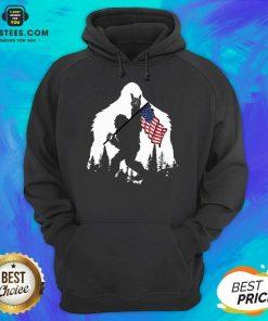 Original Bigfoot Hold American Flag Terrific Hoodie