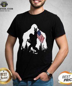 Original Bigfoot Hold American Flag Terrific Shirt