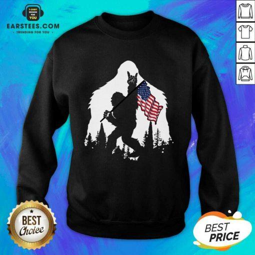 Original Bigfoot Hold American Flag Terrific Sweatshirt