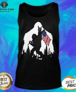 Original Bigfoot Hold American Flag Terrific Tank Top
