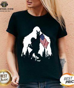 Original Bigfoot Hold American Flag Terrific V-neck