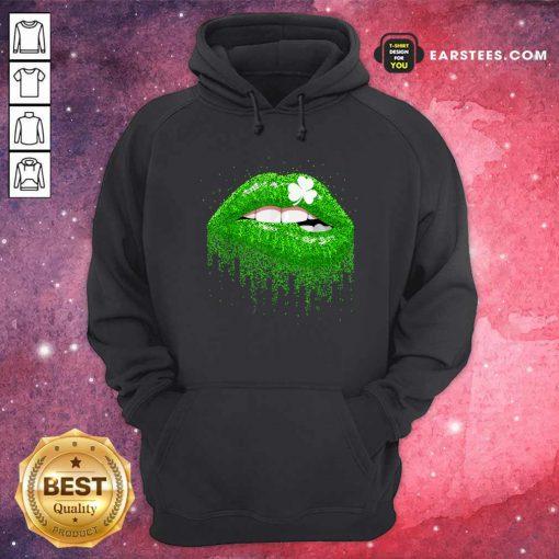 Irish Green Lip Patricks Day Hoodie- Design By Earstees.com