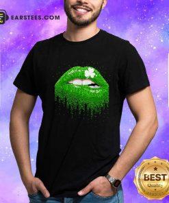 Irish Green Lip Patricks Day Shirt- Design By Earstees.com