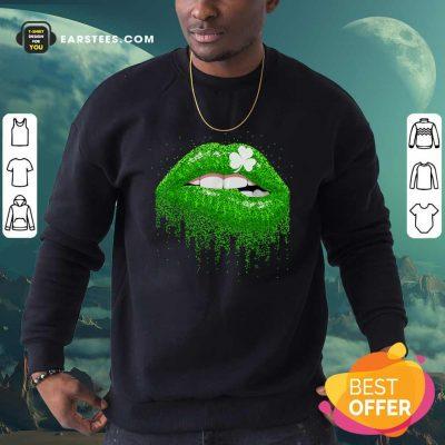 Irish Green Lip Patricks Day Sweatshirt- Design By Earstees.com