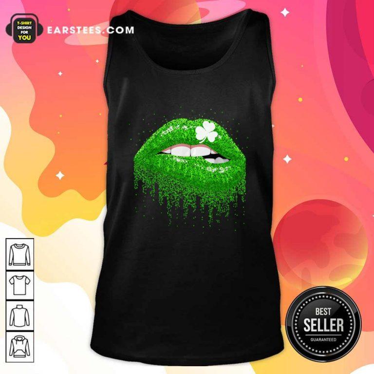 Irish Green Lip Patricks Day Tank Top- Design By Earstees.com
