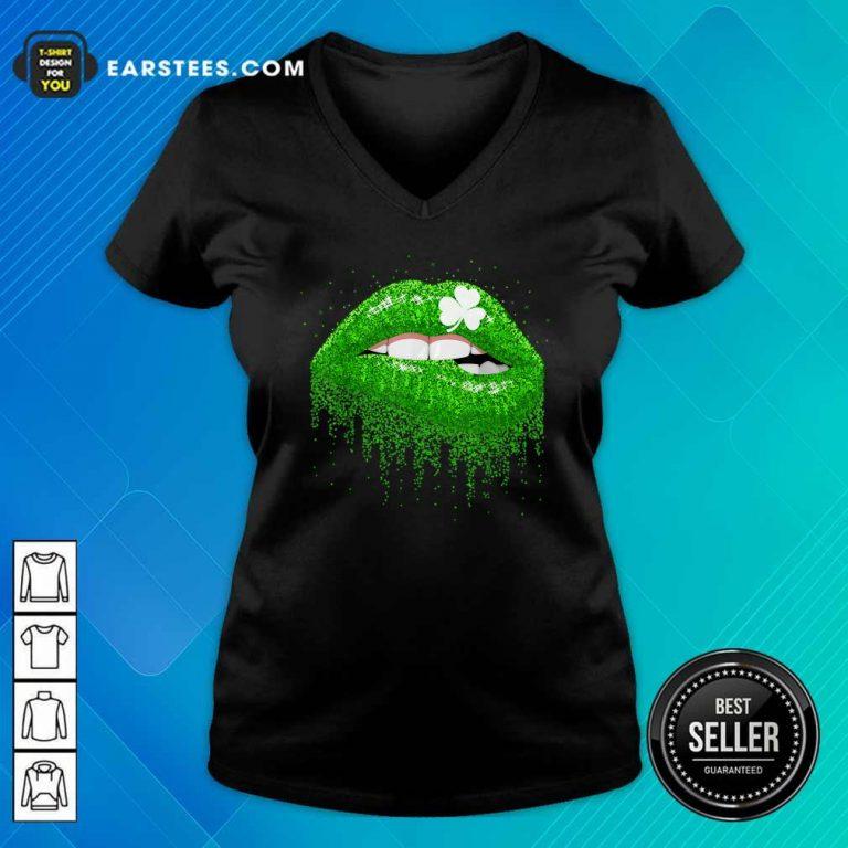 Irish Green Lip Patricks Day V-neck- Design By Earstees.com