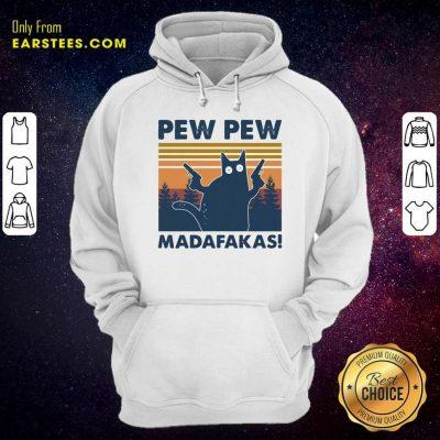 Cat Pew Pew Madafakas Vintage Hoodie- Design By Earstees.com