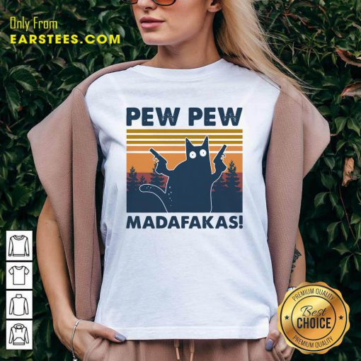 Cat Pew Pew Madafakas Vintage V-neck- Design By Earstees.com