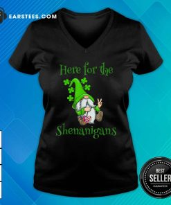 Here For The Shenanigans Hippie Gnome St Patricks Day V-neck- Design By Earstees.com