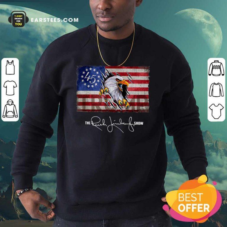 The Rush Limbaugh Show American Flag Sweatshirt- Design By Earstees.com