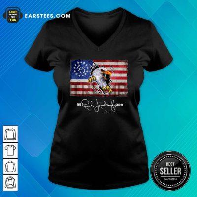 The Rush Limbaugh Show American Flag V-neck- Design By Earstees.com