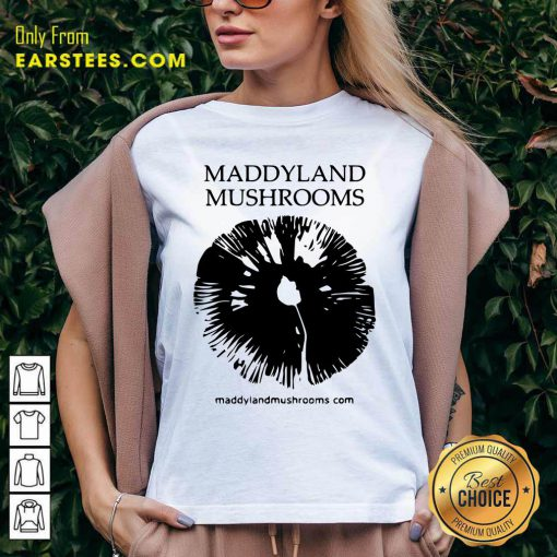 Maddyland Mushrooms With Black Image V-neck- Design By Earstees.com