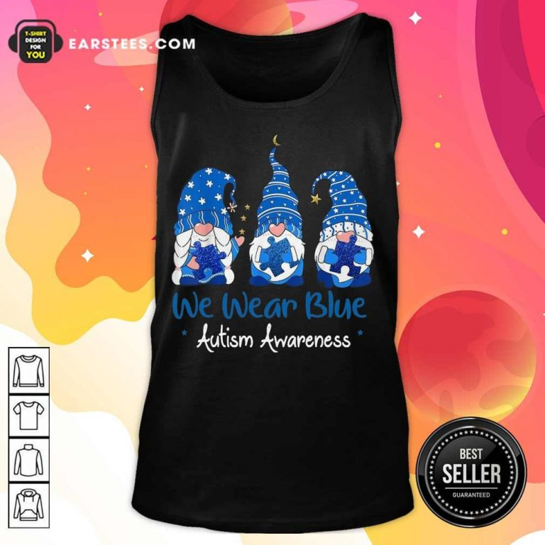 Pretty 3 Great Gnomes Holding Blue Tank Top