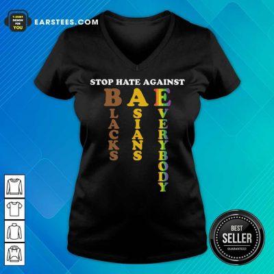 Pretty Stop Hate Against Blacks Asians V-neck