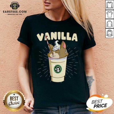 Pretty Vanilla Cappuccino Cute Cat 2 V-neck