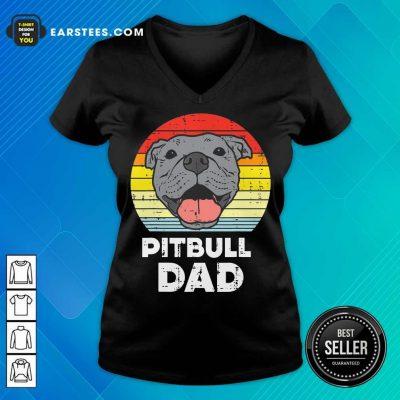 Awesome Pitbull Dad Vintage V-Neck