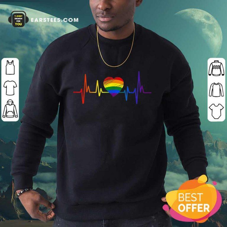 Hot LGBT Pride Heartbeat Sweatshirt
