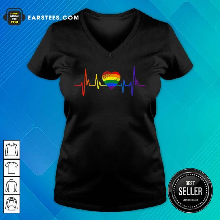 Hot LGBT Pride Heartbeat V-Neck