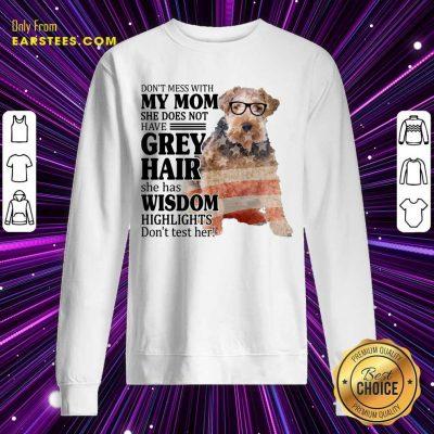 Hot White Wire Fox My Mom Grey Hair Wisdom Highlights American Flag Sweatshirt