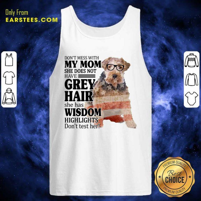 Hot White Wire Fox My Mom Grey Hair Wisdom Highlights American Flag Tank Top