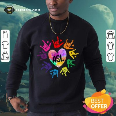 Original Asl Love Hands Watercolor Sweatshirt
